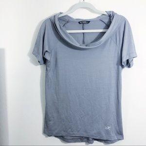 Arcteryx AB2 Cowl Neck Short Sleeve Shirt Grey L